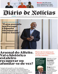 capa Diário de Notícias de 15 setembro 2020