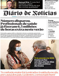 capa Diário de Notícias de 18 setembro 2020