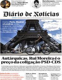 capa Diário de Notícias de 24 setembro 2020