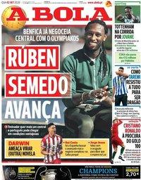 capa Jornal A Bola de 2 setembro 2020