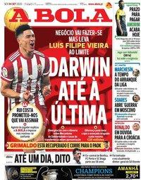 capa Jornal A Bola de 4 setembro 2020