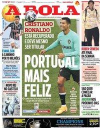 capa Jornal A Bola de 8 setembro 2020