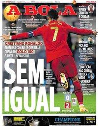 capa Jornal A Bola de 9 setembro 2020