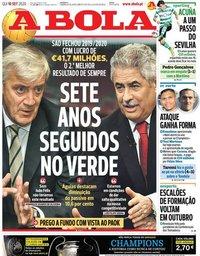 capa Jornal A Bola de 10 setembro 2020