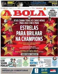 capa Jornal A Bola de 11 setembro 2020