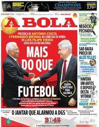 capa Jornal A Bola de 13 setembro 2020