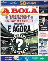 capa Jornal A Bola de 14 setembro 2020