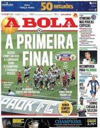 capa Jornal A Bola de 15 setembro 2020