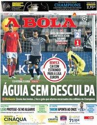 capa Jornal A Bola de 16 setembro 2020