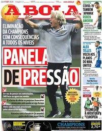 capa Jornal A Bola de 17 setembro 2020