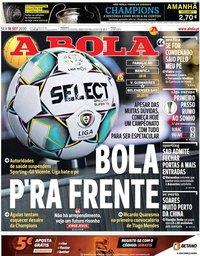 capa Jornal A Bola de 18 setembro 2020