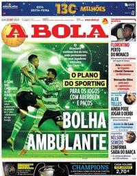 capa Jornal A Bola de 23 setembro 2020