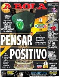 capa Jornal A Bola de 24 setembro 2020