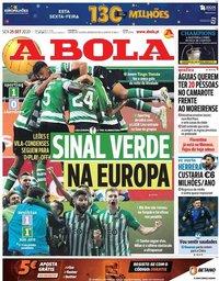 capa Jornal A Bola de 25 setembro 2020