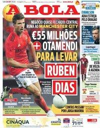 capa Jornal A Bola de 26 setembro 2020