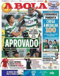 capa Jornal A Bola de 28 setembro 2020