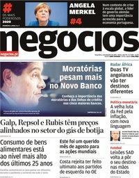 capa Jornal de Negócios de 1 setembro 2020
