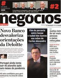 capa Jornal de Negócios de 3 setembro 2020