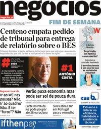 capa Jornal de Negócios de 4 setembro 2020