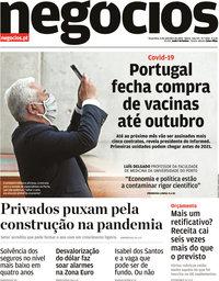 capa Jornal de Negócios de 8 setembro 2020