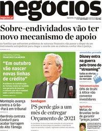 capa Jornal de Negócios de 14 setembro 2020
