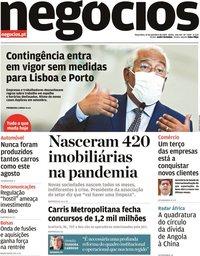 capa Jornal de Negócios de 15 setembro 2020