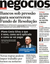 capa Jornal de Negócios de 16 setembro 2020
