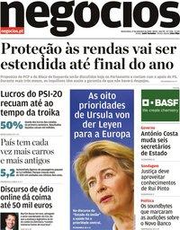 capa Jornal de Negócios de 17 setembro 2020