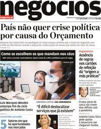 capa Jornal de Negócios de 21 setembro 2020