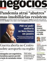 capa Jornal de Negócios de 23 setembro 2020