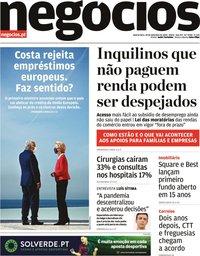 capa Jornal de Negócios de 30 setembro 2020