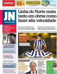 capa Jornal de Notícias de 1 setembro 2020