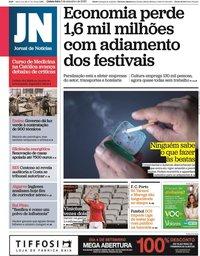 capa Jornal de Notícias de 3 setembro 2020