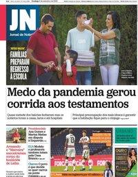 capa Jornal de Notícias de 6 setembro 2020
