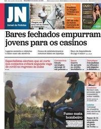 capa Jornal de Notícias de 8 setembro 2020