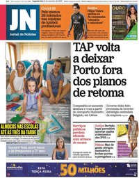 capa Jornal de Notícias de 14 setembro 2020