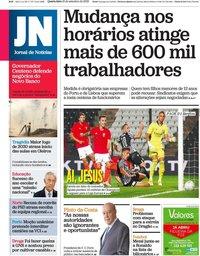 capa Jornal de Notícias de 16 setembro 2020