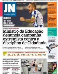 capa Jornal de Notícias de 20 setembro 2020