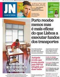 capa Jornal de Notícias de 26 setembro 2020