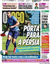 capa Jornal O Jogo de 2 setembro 2020