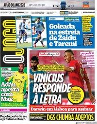 capa Jornal O Jogo de 3 setembro 2020