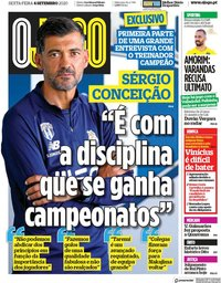 capa Jornal O Jogo de 4 setembro 2020