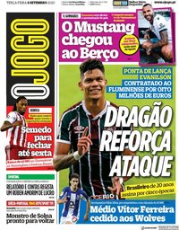 capa Jornal O Jogo de 8 setembro 2020