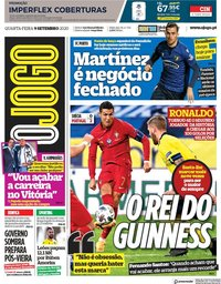 capa Jornal O Jogo de 9 setembro 2020