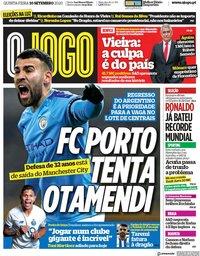 capa Jornal O Jogo de 10 setembro 2020