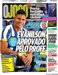 capa Jornal O Jogo de 11 setembro 2020