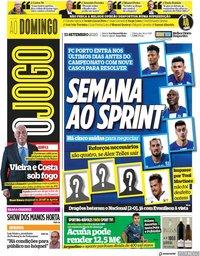 capa Jornal O Jogo de 13 setembro 2020