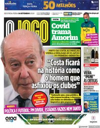 capa Jornal O Jogo de 14 setembro 2020