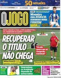 capa Jornal O Jogo de 15 setembro 2020