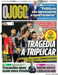 capa Jornal O Jogo de 16 setembro 2020